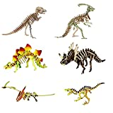 3D Wooden Puzzle Dinosaur Set for Kids,Dinosaur Model Kits to Build,6 pcs Kids Animal Dinosaur Figures, Girls & Boy Adults-DIY Building Block Educational Gift Kids