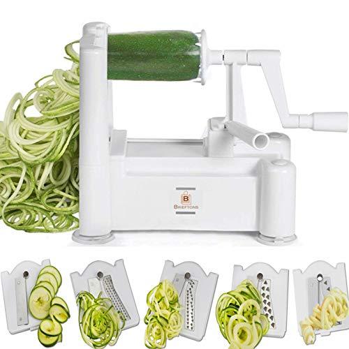 Brieftons 5-Blade Spiralizer: Vegetable Spiral Slicer, Best Veggie Pasta Spaghetti Maker, With 3 Exclusive Recipe eBooks, 100% Lifetime Replacement Warranty