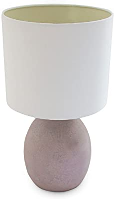 Relaxdays 10019055_51 Table Shelly Lampe de Chevet en céramique mosaïque Coquille Oeuf, 43 x 24 x 24 cm, Lilas, Violet
