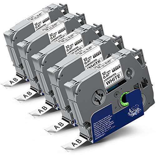 5x Labelwell 0.47 12mm x 8m White Kompatibel Schriftband Ersatz für Brother Tz Tzc Tze-231 Tze231 Schwarz auf Weiß für Brother PT-1000 PT-D400 PT-H105WB PT-D210 PT-H110 PT-D600VP PT-H107B PT-H100LB