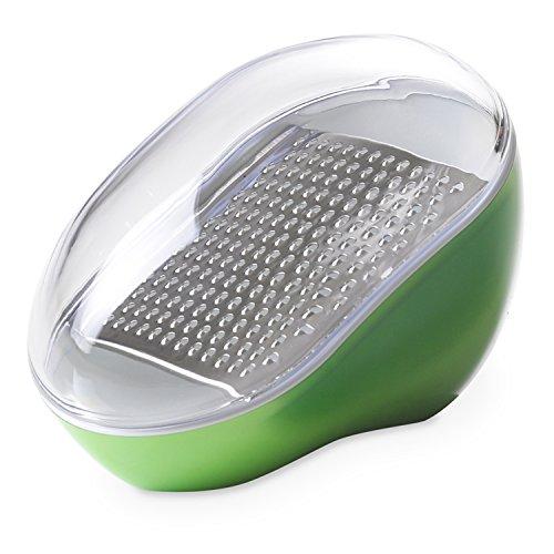 Omada Design Käsereibe mit abnehmbarer Edelstahlklinge und auslaufsicherem Deckel, Made in Italy, spülmaschinenfest, Trendy Line