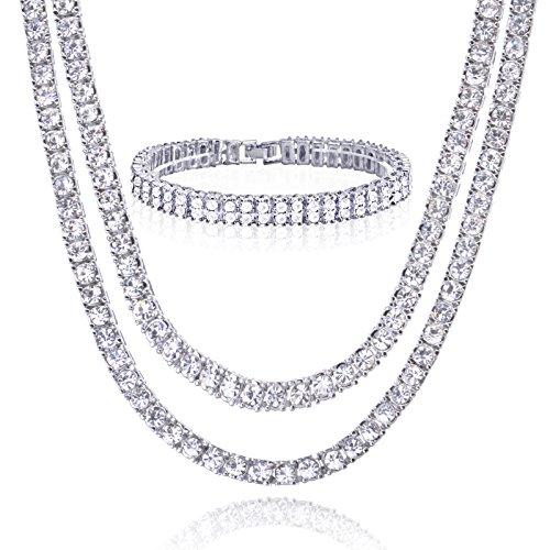 18'/22' 14K dorado/bañado en plata doble cadena de Tenis & 2fila x 8'pulsera Set collar de hombres de las mujeres