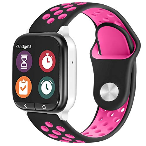 ZSMJ Replacement Kids Band for Gizmo Watch, 20mm Breathable Soft Sport Band Compatible with Verizon Gizmo Watch 2 / Gizmo Watch 1 (Black Pink)