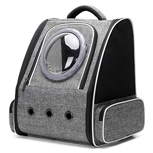 N/D Pet Carrier Backpack for Large Cat and Small Puppy, Space Capsule Bubble Cat Carrier Backpack for Fat Cat (Grey)