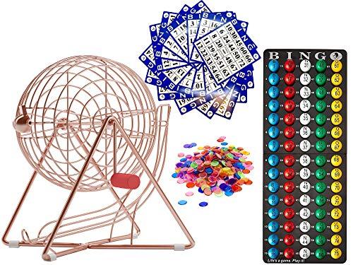 "MR CHIPS 11 Inch Tall Professional Bingo Set with Steel Bingo Cage, Everlasting 7/8"" Bingo Balls, 18 Bingo Cards and 300 Bingo Chips - Rose Gold"