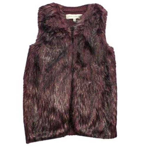 Sebby Collection Women's Faux Fur Fashion Vest (Large, Burgundy)