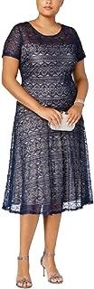 Sangria Plus Size Sequined Lace Fit & Flare Dress