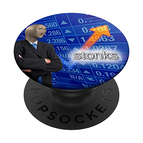 Stonks Meme Man PopSockets PopGrip: Swappable Grip for Phones & Tablets