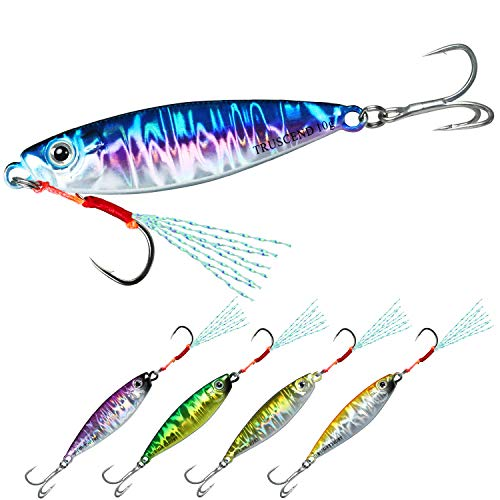 TRUSCEND Fishing Jigs Lures with Hand-Polished Colorfully Reflective Lead Fishing Spoons Glow Hard Swimbaits for Walleye Bass Trout Pike Tuna Salmon Freshwater & Saltwater Fishing Gear Gifts for Men