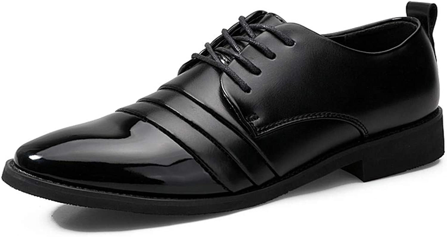JUJIANFU-shoes Men's Simple Business Oxford Casual Fashion British Style Spring New Patent Leather Formal shoes(One Yard Less Than Normal)