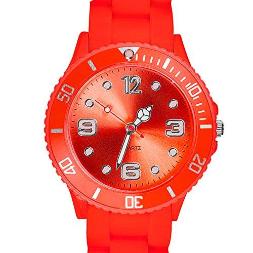Taffstyle Farbige Sportuhr Armbanduhr Silikon Sport Watch Damen Herren Kinder Analog Quarz Uhr 34mm Melone