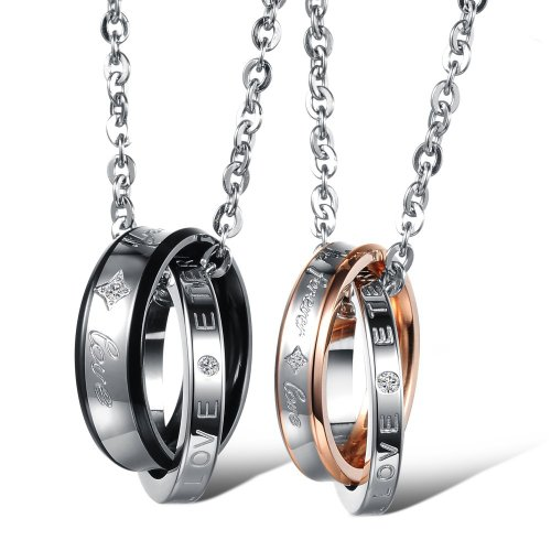 MunkiMix 2 Pieza Acero Inoxidable Colgante Collar Plata Oro Dorado Dos Tono Negro Anillo Pareja Hombre,Mujer,Cadena 50cm & 58cm