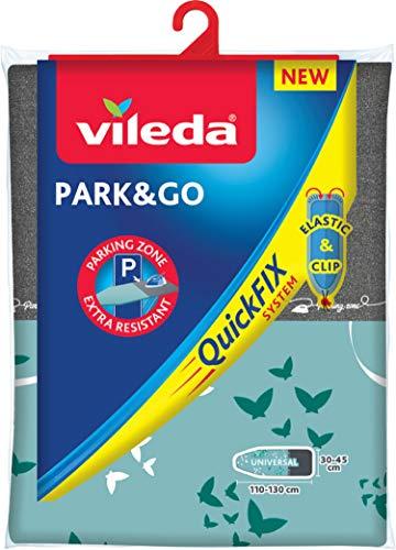 Vileda Park & Go - Housse à repasser avec espace de stationnement, doublure métallique et ajustable, très résistant, 13 x 45 cm - coloris aléatoire
