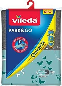 Vileda Park & Go - Funda de planchar con zona parking, forro metalizado y ajustable, extra resistente para apoyar la plancha, 130 x 45 cm, colores surtidos