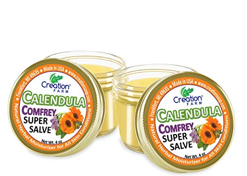 Calendula Comfrey Super Salve 8OZ- (2-4 oz Jars), by Creation Farm Balm...
