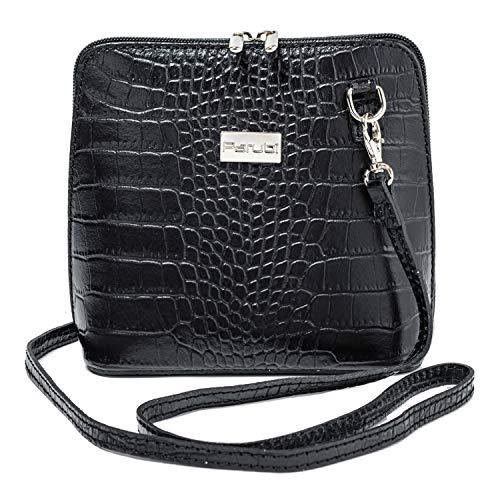 Parubi, Umhängetasche für Damen, aus echtem Leder mit Krokodil Duck, Made in Italy, Modell Alina 5.0, kleine Handtasche Schultertasche Ledertasche, Clutch für Damen Mädchen Elegant, Schwarz Kroko
