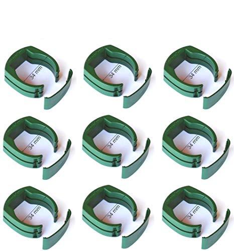 9 x Ø 34 mm Zaun Pfosten Halter Clip zur Befestigung des Gartenzaun Schweiß-draht Gartengitter an Pfahl in RAL 6005 dunkel grün