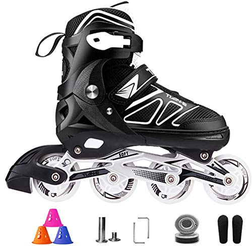 Inline Skates Adjustable Size for Adults,with Light Up Wheels Roller Skates, Suitable for Indoor and Outdoor, Professional Roller Blades for Teens,Black-L(4.5‐6.5UK/38‐41EU)