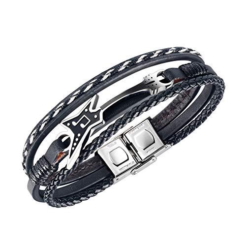 CHXISHOP Herren-Lederarmband, Gitarre, Edelstahl, einfaches Armband, mehrschichtiges Seil, Musiknoten-Armband, Punk, Persönlichkeitszubehör, Schmuck, B-Einheitsgröße