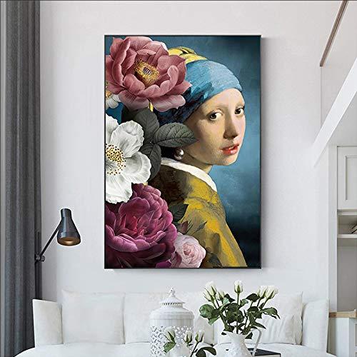 ssymfgzt Arte vintage de niña con pendientes de perlas lienzo pintura al óleo flor mujer cartel impresión pared arte imagen para sala de estar decoración del hogar 40 x 50 cm
