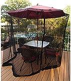 Anti-Mosquito Nets Paraguas su sombrilla en un Gazebo Cubierta de mosquito para jardín al aire libre para sombrilla de mesa de patio, Recinto de malla con cremallera para Parasol Gazebo (Tamaño: 335cm
