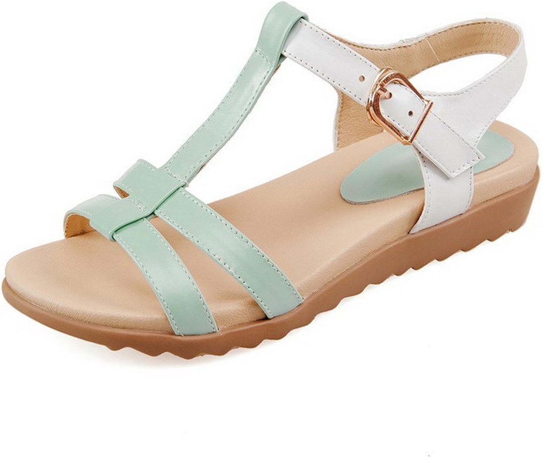 WeenFashion Women's Low Heels Soft Material Assorted color Buckle Open Toe Sandals
