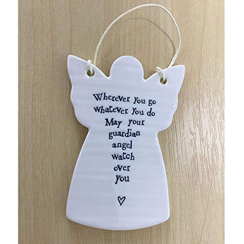AC Guardian Angel Hanging Gift Porcelain Ornament for Friendship Love Christening - Wherever you go 4048