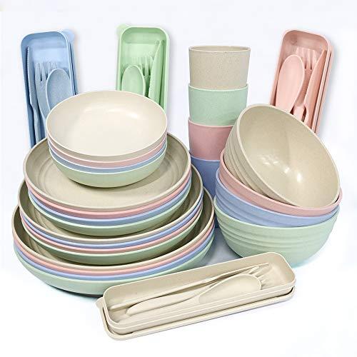 Juego de vajilla de paja de trigo, 28 piezas, platos ligeros, tazas, platos, cuchara y tenedor, juego de vajilla irrompible para picnic, fiesta, barbacoa camping (28 piezas)