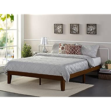 Zinus 12 Inch Wood Platform Bed/No Boxspring Needed/Wood Slat Support/Antique Espresso Finish, Queen