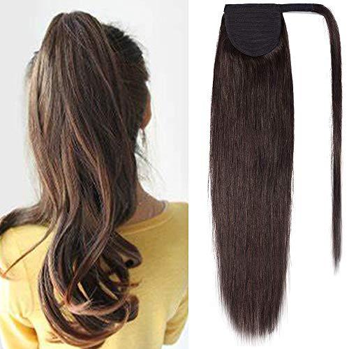 Elailite Coda Capelli Veri Clip Extension Coda di Cavallo 55cm Ponytail Fascia Unica 95g 100% Remy Human Hair Naturali con Clip #2 Castano Scuro
