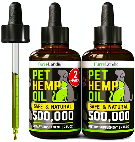 (2 Pack) Hemp Oil for Dogs and Cats - 500,000 - Hip and Joint Support and Skin Health - Rich in Omega 3-6-9 - Pet Hemp Oil Drops - Made in USA