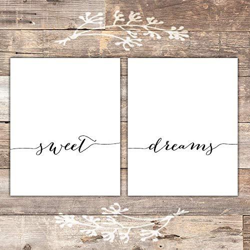 Sweet Dreams Wall Art Prints (Set of 2) - Unframed - 8x10 | Calligraphy
