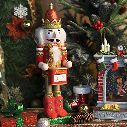 14' Christmas Nutcracker Wooden Holiday Timer Gift Ornaments Date Plate(Count Down)