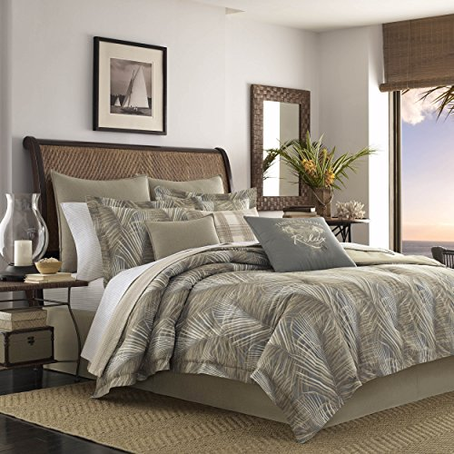Tommy Bahama Raffia Palms Collection Comforter Set-100 Percent Cotton, Ultra-Soft Bedding with Matching Shams and Bedskirt, Machine Washable Easy Care, Queen, Brown