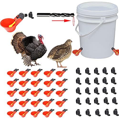 YAHONG Chicken Waterer (with Hole Opener) Chicken Drinking Cups,Chicken Water Feeder,Chicken coop Water Dispenser,Chicken Drinking Cups Automatic,Water Chicken Automatic,Chicken Water Nipples