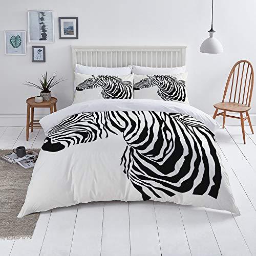 Duvet Cover Set-Bedding,Animal Illustration Of Zebra Silhouette,Quilt Cover Bedlinen-Microfibre 140x200cm with 2 Pillowcase 50x80cm