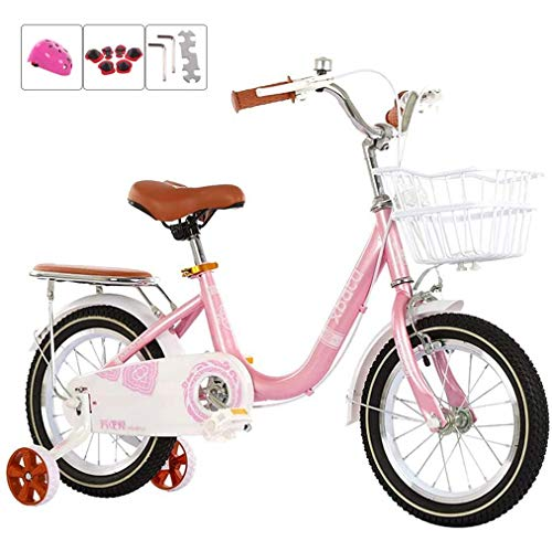 SHARESUN Bicicleta infantil de 12 pulgadas, 14 pulgadas, 16 pulgadas, 18 pulgadas, bicicleta para niñas y niños, para edades de 2 a 13 años, rosa + equipo de protección, 16 pulgadas