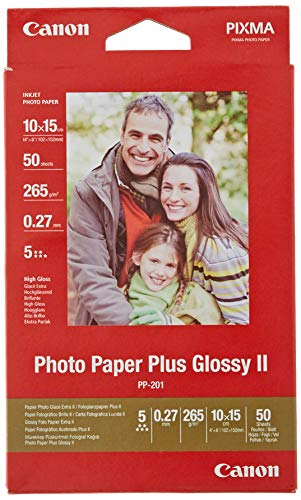 Canon Fotopapier PP-201 glänzend - 10x15 cm 50 Blatt für Tintenstrahldrucker - PIXMA Drucker (265 g/qm)