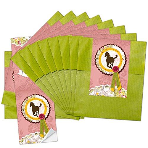 10 kleine grüne Papiertüten Geschenktüten Geschenk-Verpackung (9,5 x 14 cm) mit Aufkleber