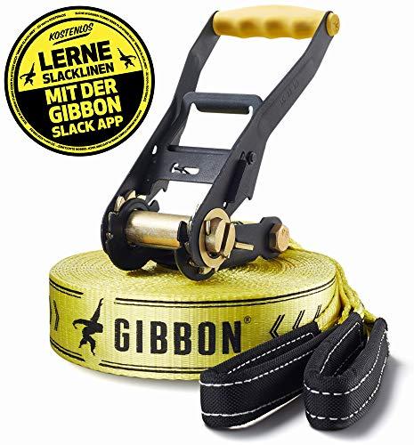 Gibbon Slacklines Classic Line, Gelb, 15 Meter (12,5m Band + 2,5m Ratschenband), inkl. Ratschenschutz, Breite 2