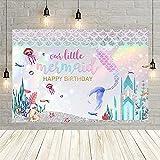 La Sirenita Fondo para la fotografía bajo el mar Brillo Escamas de Pescado niña recién Nacida cumpleaños Photo Backdrop Studio Vinyl-250x180cm