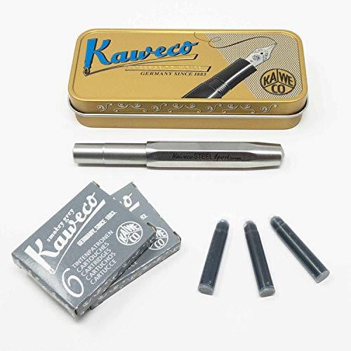 Kaweco Sport Füller Edelstahl | Federstärke M | Set mit 12 grauen Tintenpatronen GRATIS