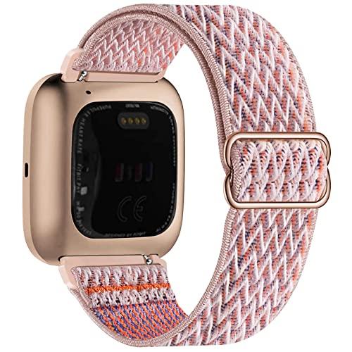 Fengyiyuda Nylon Correa Compatible con Fitbit Versa 2/Versa/Versa Lite/Versa SE,Elástico Bandas Suaves para Relojes Inteligentes, Seporte Hebillas Ajustables,correas de repuesto,Pink Sand