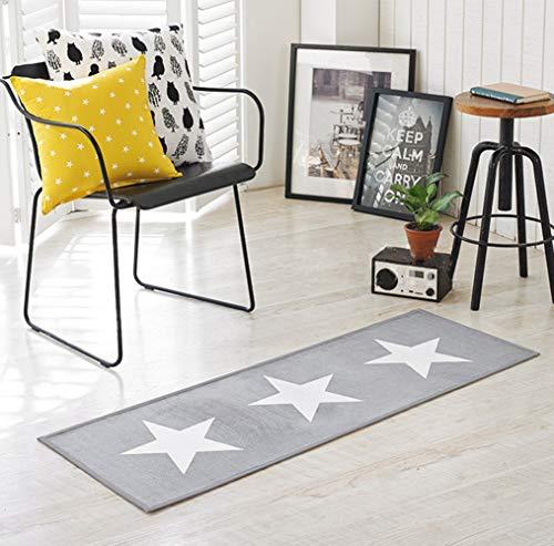 Lindong Badematte Stern Motiv rutschfester weich Teppich Fußmatte Küchenläufer Duschmatte für Badezimmer Wohnzimmer Kinderzimmer 45x120cm