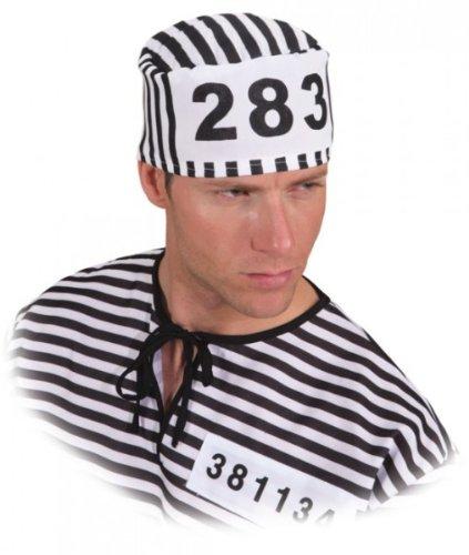 Kappe, Sträflingskappe, schwarz-weiß gestreift, mit Nummer