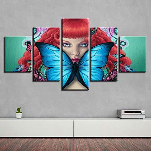 SFDHG 5 Panneau Mural Blue Butterfly Anime Girl Fée Tableaux Decor muraleparties Tableau decorationcanapé Chambre Salon-No Frame-110x60Cm