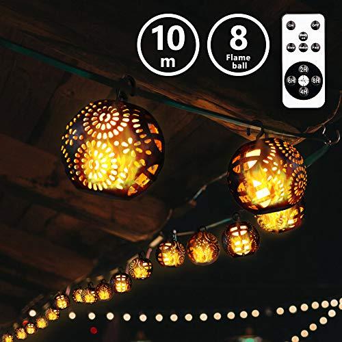 Yinuo Mirror LED Vorhang Lichterkette Flamme Lampe, Lichterkette Außen, IP44 Wasserdicht, 112 LEDs Warm-weiß Lchterkette für Party,Zimmer usw