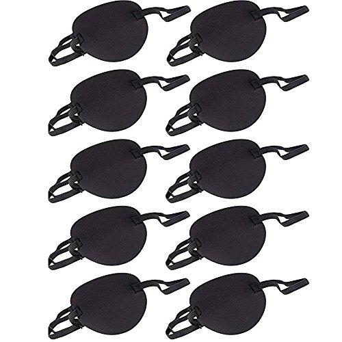 Augenklappe,Pirat Augenklappe(10 Stück),Augenmaske des Erwachsenenkindpiraten Augenauge-Maske einzelne für Amblyopie Korrekturkorrekturkorrektur Amblyopie,Schwarz.