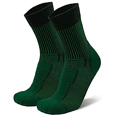 Merino Wool Light Hiking Socks (Dark Green, US Women 11-13 // US Men 9.5-12.5)