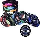 GAOSHENGWUJINGD Fichas de Poker Profesionales 100 PCS Poker Chips...